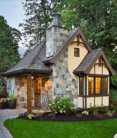Tudor house plans display distinctive half-timbering and stucco. They range in size from small cottage house plans to luxurious mansion floor plans. Small Cottage House Plans, Small Cottage Homes, Cottage Floor Plans, Small Cottages, Craftsman Style House Plans, Cottage Style Homes, Small House Plans, Tiny Homes, Dream Homes
