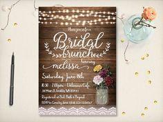 Rustic Bridal Brunch Invitation Mason Jar by VintageBellsAndCo