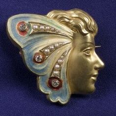Art Nouveau Enamel, Diamond and Seed Pearl Watch Pin