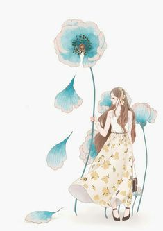 Blue Flowery Wallpaper, Cute Girl Wallpaper, Cute Disney Wallpaper, Cute Wallpaper Backgrounds, Cute Wallpapers, Cute Illustration, Character Illustration, Watercolor Illustration, Illustrations