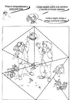 Actividades para niños preescolar, primaria e inicial. Plantillas con puzzles recortables para imprimir para niños de preescolar y primaria. Puzzles recortables. 18