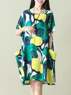 Women's Abstract Floral Big Pocket Dress-Green