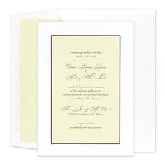 Rondo - A Spring green card atop Chocolate brown and crisp White creates a refreshing 3-layered invite. A playful combination of typestyles elevates the simple to sublime. White Wallet Flap envelopes come standard with your invitations. Shown here with an optional Spring green liner