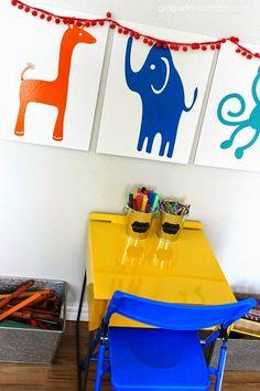 DIY playroom craft area canvas wall decor