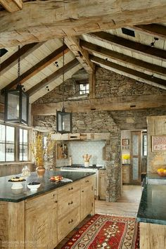 I love the rustic look of a wood and stone kitchen. I love the rustic look of a wood and stone kitchen. Rustic Kitchen Design, Kitchen Wood, Log House Kitchen, Rustic House Design, Kitchen Walls, Kitchen Living, Kitchen Interior, Kitchen Stone Wall, Stone Kitchen Island