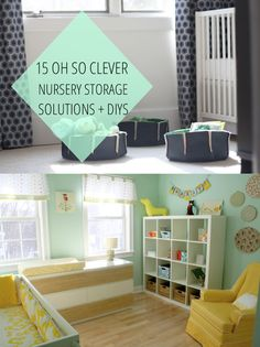 15 nursery storage solutions and diys to make space for your little ones. armoire sans doors instead of wall shelves, etc.