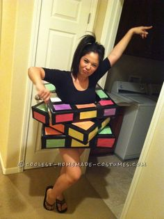Disney Costume Last-Minute Rubik's Cube Costume. - I planned to make a Rubik's cube costume way before Halloween, just never got around to it until the day before Halloween hit! I love getting artsy fartsy Looks Halloween, Holidays Halloween, Halloween Crafts, Holiday Crafts, Holiday Fun, Happy Halloween, Halloween Party, Cheap Halloween, Halloween Couples