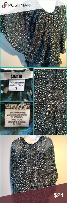 BAR III Print Flowy Top Awesome shirt with rich blues and greens. Batwing sleeve, round neckline and hi-lo hem. Buttons on front. Loose fit with gathered button detail on back. Sheer fabric is 100% polyester. Excellent condition! 66201624 Bar III Tops Blouses