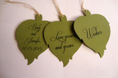 Hey, I found this really awesome Etsy listing at https://www.etsy.com/listing/186175827/50-green-leaf-wedding-wish-tree-tags