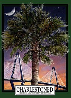 Charlestoned shirt featuring a palmetto tree, moon and Ravenel Bridge