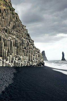 Black sand beach, Column Basalt from Vik Iceland.