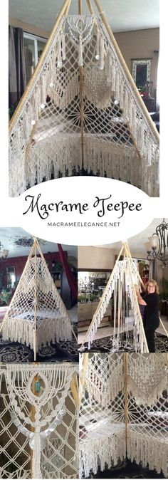 You bet! And this one is available for rental in California. Beautiful Capiz shells, aura quartz crystal, wooden beads and tassels make this Teepee very awesome indeed. Macrame Design, Macrame Art, Macrame Projects, Macrame Knots, Craft Projects, Sewing Projects, Projects To Try, Teepee Pattern, Diy And Crafts