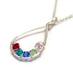 Teardrop Family Birthstone Necklace - £28.00  Cherish your family with this Sterling Silver customised teardrop birthstone necklace. The teardrop has been handcrafted with Sterling Silver wire and your choice of up to 7 Swarovski crystals. The perfect gift for Mothers, Grandmothers & Nana's!