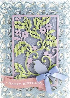 HSN May 9th, 2017 Product Preview 3 | Anna's Blog - Card Front dies, 4 large scale designs cut and emboss 5 x 7 die cuts, bird and branch, birthday cake, suit front, floral pattern