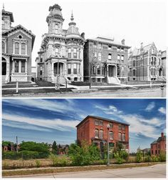 Abandoned Detroit street before and after. It's so sad to see all of those beautiful houses gone. I doubt Detroit will ever be the same again. Abandoned Mansion For Sale, Abandoned Detroit, Abandoned Mansions, Abandoned Property, Old Buildings, Abandoned Buildings, Abandoned Places, Detroit History, Second Empire