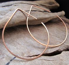 Lotus Leaf Hoop Earrings Petal shaped Copper by NadinArtGlass, $15.00