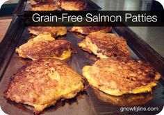 Grain-Free Salmon Patties w/ Lemon Sour Cream | Oh, boy, you're in for a treat! Love salmon? (Or maybe you don't? You just might now.) These patties are crisp on the outside and soft (but-not-soggy) on the inside. And absolutely scrumptious with great quality salmon. Plus, our favorite sauce -- Lemon Sour Cream. | TraditionalCookingSchool.com