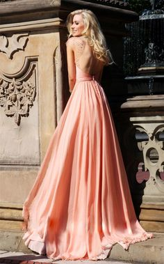 Pastel coral gown