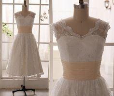 Vintage Inspired Lace Wedding Dress Tea length Short Dress with Chiffon Sash on Etsy, $129.00
