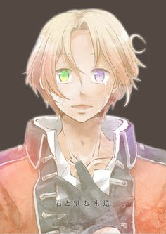 """Hetalia- Canada. Half British, Half French - This is a brilliant way to represent it! If you don't get it, look at his eyes...he's got one from each """"parent""""."""