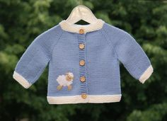 Blue lamb jacket knitted baby jacket with white sheep knit