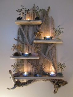 Magical Unique Driftwood Shelves Solid Rustic Shabby Chic Nautical Artwork