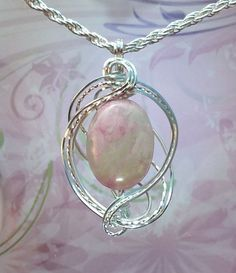 Pink and Pale Ivory Pendant Wire Wrapped Jewelry Handmade in Silver With Free Shipping by EarthArtsNW on Etsy $64