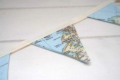Vintage World Map Mini Bunting by LinenandLaceHandmade on Etsy