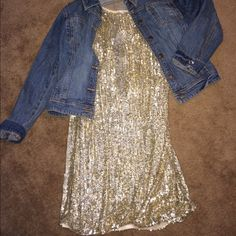 """Sequin Shift Dress (Gold) Great sleeveless dress for New Years, dress up or down, knit lining inside, NWT, never worn 😞 Length shoulder to bottom 37"""" Sz: 16 does have some stretch. Purchased through Nordstrom Pisarro Nights Dresses"""