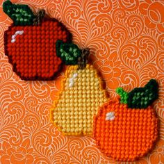 "Plastic Canvas: Apple, Orange and Pear Magnets (set of 3) -- ""Ready, Set, Sew!"" by Evie"
