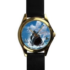 Popular Cool Jaws Shark Unisex Silver-tone Round Leather Metal Watch >>> See this awesome image : Travel Gadgets Travel Gadgets, Shark, Unisex, Popular, Watches, Cool Stuff, Metal, Awesome, Silver