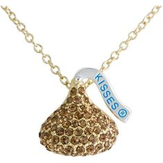 "Hershey's Kiss Gold Tone Brown Crystal Pendant, 18"""