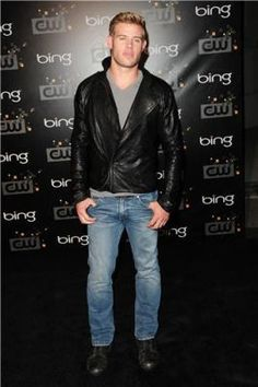 "Trevor Donovan from 90210 wearing the Superdry Officer Denim Slim Jeans and V-Neck Tee to the ""Bing Presents The CW Launch Party"""