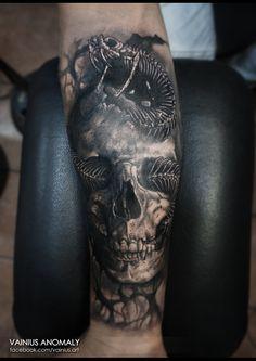 Tattoo by Vainius Anomaly  http://www.facebook.com/vainius.art/ http://www.instagram.com/vainius.art/  #tattoos #tattoo #Skull #snake #creepy #horror #darkness #inked #armtattoo #vainiusanomaly