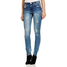 One Teaspoon Hoodlums Distressed Skinny Jeans in Pure Blue ($138) ❤ liked on Polyvore