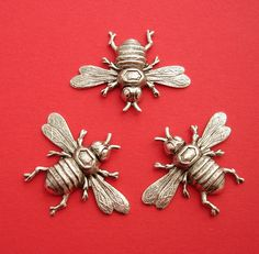 3- Bee Bug Insect Ox Sterling Silver Over Brass Stamping Ornament Pendant Jewelry Findings. by anchar on Etsy https://www.etsy.com/listing/222447143/3-bee-bug-insect-ox-sterling-silver-over
