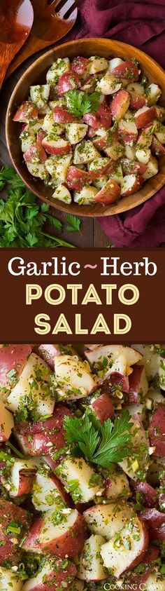 Garlic Herb Potato Salad - LOVE this flavorful twist on potato salad! Covered with an olive oil based dressing, plenty of fresh herbs and garlic. So so good!