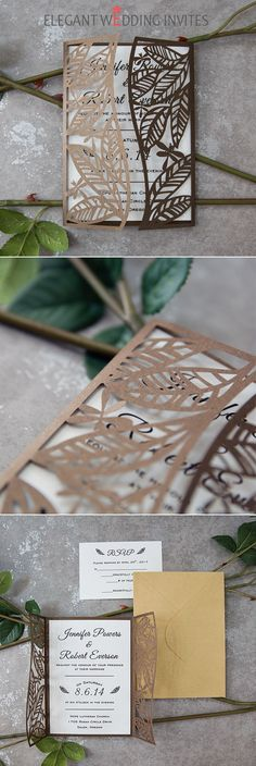 stylish country leaf and dragonfly laser cut invitations