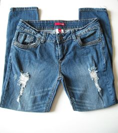 Bongo Juniors Blue Destroyed Skinny Slim Leg Jeans Medium Wash Sz 9   #Bongo #SlimSkinnyStraightLeg