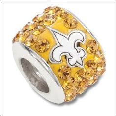 Fans can wear these New Orleans Saints Pandora Charms and beads with the pride of New Orleans. These beads make perfect gifts for Saints fans. Pandora Bracelets, Beaded Bracelets, Saints Gear, Pandora Style Charms, New Orleans Saints Football, Who Dat, How To Make Beads, Nfl, Bling