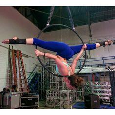 Shoulder stand split on lyra, aerialist Brandi Powers