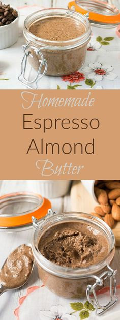 Healthy, raw homemade almond butter with espresso. Small batch because a little goes a long way.(Homemade Butter With Raw Milk) Homemade Almond Butter, Flavored Butter, Butter Recipe, Nut Butter, Cookie Butter, Pesto, Chutneys, Nutella, Espresso Recipes