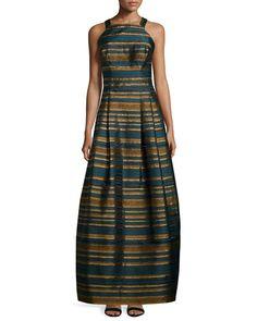 TBRV6 Kay Unger New York Sleeveless Metallic-Striped Gown, Teal
