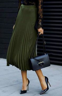Black lace & Olive Pleated Skirt | Street Chic.