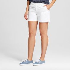 Women's 5 Inseam Chino Short White 10 - Merona