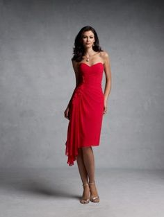 Red Sweetheart Chiffon Bridesmaid Dress $68.38--Perfect for Spring with the cut along the bottom! :)