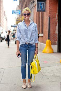 blue stripes, denim Bajo de pantalon