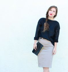 Dark blue loose sweater, and khaki / beige pencil skirt  -- work / professional outfit