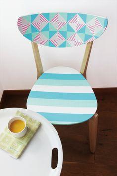 On dirait une chaise de designer scandinave ! Et pourtant il s'agit d'une simple chaise décorée au masking tape casa...!