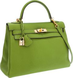 Hermes 32cm Vert Anis Togo Leather Retourne Kelly Bag with GoldHardware. - Vert anis is a color you love or hate, I love it. This bag has raisin topstitching, which I think makes a nice combination.